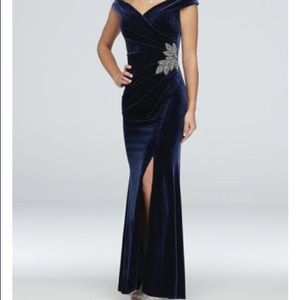 Alex Evenings Blue Velvet Evening Gown